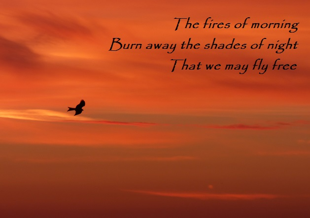 The fires of morning Burn away the shades of night                  That we may fly free