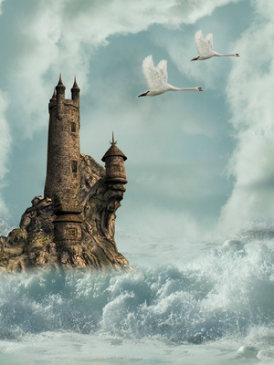 castle in the ocean with swans and waves