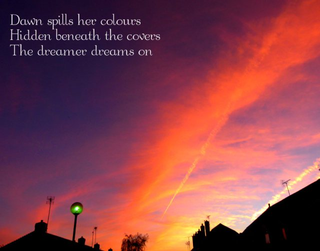 Dawn spills her colours Hidden beneath the covers The dreamer dreams on
