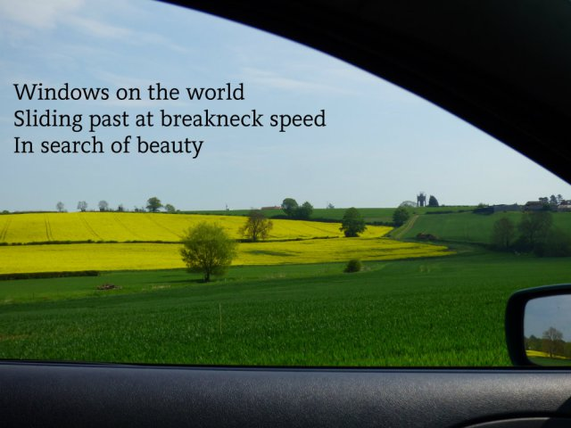 Windows on the world Sliding past at breakneck speed In search of beauty